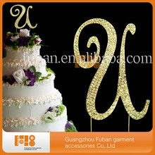 (30pcs/lot)high quality crystal rhinestone letter  cake topper  for wedding decoration