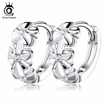 ORSA JEWELS Lovely Silver Earring 3 Flowers Designs with Austrian CZ Crystal Latest Model Fashion Earrings OE29