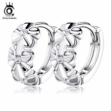 ORSA JEWELS Lovely Silver Earring 3 Flowers Designs with Austrian CZ Crystal Latest Model Fashion Earrings OE29(China)