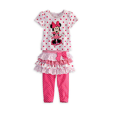 2017 summer new children's clothing cute cartoon girls sets hello kitty dot casual t-shirt + bow gauze pants suit