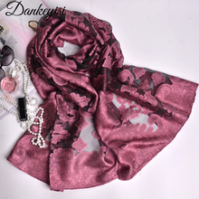 DANKEYISI New Design Embroidered Cotton Lace Scarf Shawl for Women Spring Summer Hijab Bandana Pashmina Fashion Pure Color Scarf