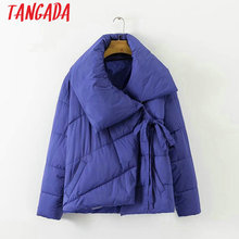 Tangada Winter Jackets and Coats Women Solid Parka Cross Bow Thick Female Warm Cotton Parkas Padded Coats Snow Wear XD1117(China)