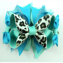 5 Inch Leopard ribbon match cool colors outfit design boutique Hair bows for little girls with hair clip(China)