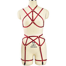 Buy Red Full Body Harness Set Women Underwear Adjust Lingerie Goth Harajuku Fetish Sexy Cage Bra Cupless Dance Rave Cosplay