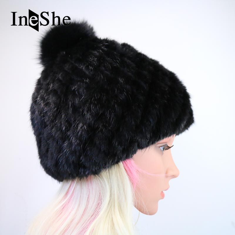 IneShe Mink Fur Beanies Caps With Fox Fur Pompoms For Women Thicken Female Cap Winter Knitted Real Mink Fur Hat Hot Sale M3007Одежда и ак�е��уары<br><br><br>Aliexpress