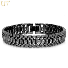U7 Bracelet Men Jewelry Punk Rock Style Black Gun/Silver/Gold Color 19cm 12MM Chunky Chain Link Bracelets Bangles Wholesale H550