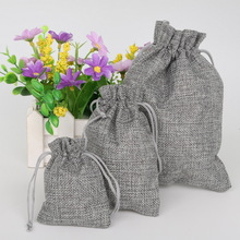 Gray Color Cotton Linen Gift Bags Wedding Party Favor Holder Neckalce Bracelets Jewelry Muslin Packaging Christmas Pouch