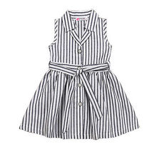 2017 Summer Toddler Kids Girls Cotton Striped Sleeveless Summer Dress With Belt Summer Party Wedding Dresses