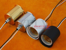 10pcs E27ceramic Lamp Base with metal cup/ Lighting Accessories e27 lamp socket / Ceramic Light Holder With 20cm wire