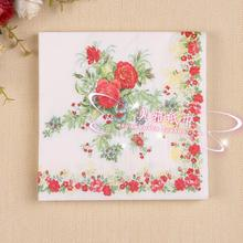 20 pcs Red Flower Napkins Tissue Paper 100% Virgin Wood Tissue for Wedding Party Decoration