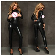 Buy Hot Black Faux Leather Catsuit Women Back Crotch Zipper Open Bra Crotchless Sexy Fetish Jumpsuit Exotic Clubwear Costumes