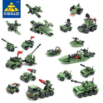 KAZI Jouets Pour Enfant Blocs de Construction Composé De 6 dans 1 Militaire de Thunder Flammes Série De Enfant Jouets De Noël brinquedos jouets