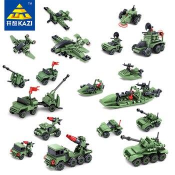 Kazi juguetes para niños bloques de construcción compuesta de 6 en 1 Militar Trueno Llamas Serie De Juguetes de Navidad brinquedos juguetes