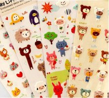 1PCS/Lot New cute animal friend 3D PVC sticker bear Decoration multifunction Scrapbooking Label Diary Stationery Album Stickers