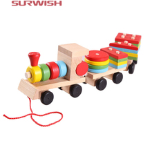 Surwish Hot sale 3 parts Drag Wooden Toys Early Stacking Train For Boys Girls Children Baby Kids Blocks Set Wood Toy Gifts(China)