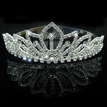2017 New Fashion Princess Bride rhinestone crystal tiara crown wedding accessories(China)