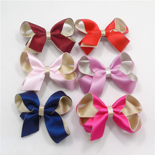 20pcs/lot Hot Sale Hair Bow Clips Deluxe Satin Ribbon Bow Knot Hair Barrette Red Dark Blue Purple Alligator Clip Birthday Gift