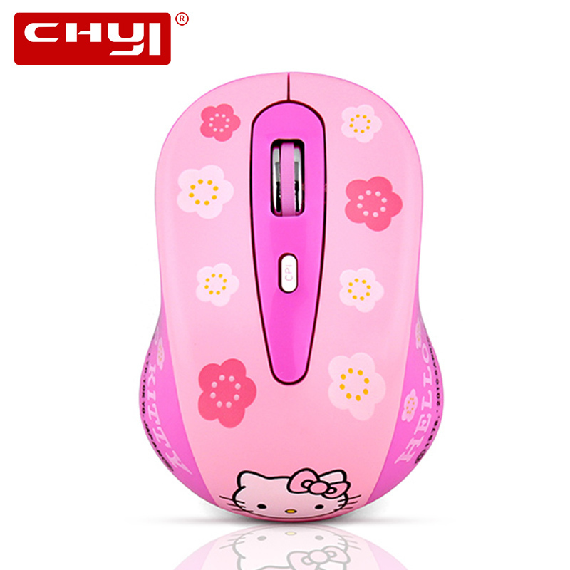 CHYI HelloKitty Wireless Mouse 1600 DPI Pink Hello Kitty Mouse Wireless Gamer Optical Computer Mice for PC Laptop(China)