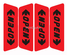 4pcs/pack Free shipping auto door car door OPEN warning caution reflective stickers adhesive labels for safe driving Red Orange(China)