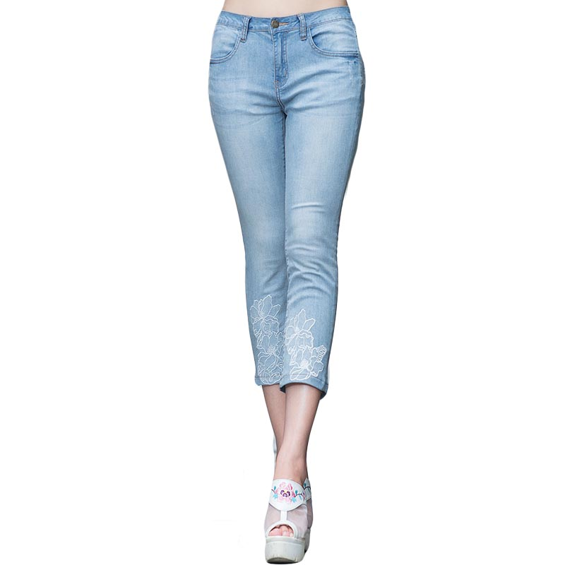 In 2017 the new folk art van lace stitching jeans embroidered cowboy 7 minutes of pants women cultivate ones moralityОдежда и ак�е��уары<br><br><br>Aliexpress