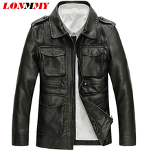 LONMMY 3XL Leather jacket men Black PU Suede Vintage motorcycle jacket coats men Outerwear Casual Multi-pocket 2017Autumn Spring(China)