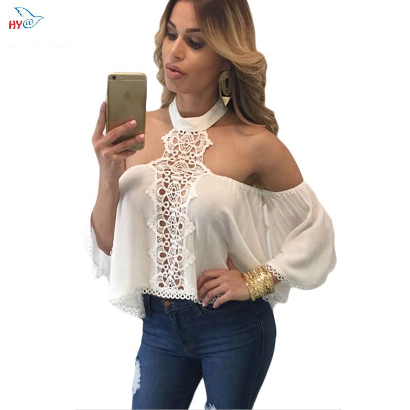 HAIYI Women Shirts Blouses 2016 Summer White Chocker Neck Bare Off Shoulder Blouse Flare Crop Top camisas mujer LC25765