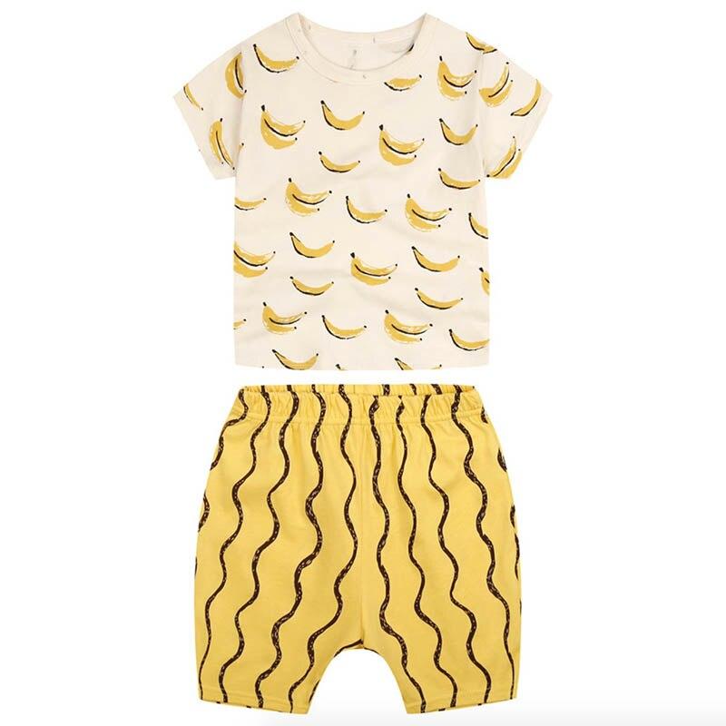 2017 summer girls boys clothing sets short-sleeved cartoon cute banana T-Shirt + shorts suit Children Set<br><br>Aliexpress