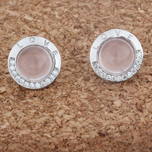 Silver 925 Sterling Jewelry Earrings Fit Woman Eardrop Letter Love Round Cabochon Stones Ross Quartz White Gold Pink 12mm 1pc