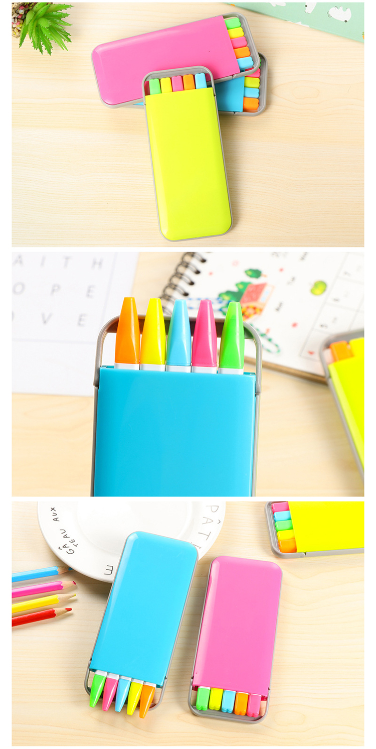 5 pcs/box Kawaii Mini Candy Colors Highlighter Pens Set Cute Kids Painting Drawing Highlighter Art Marker Pen Writing Stationery 5