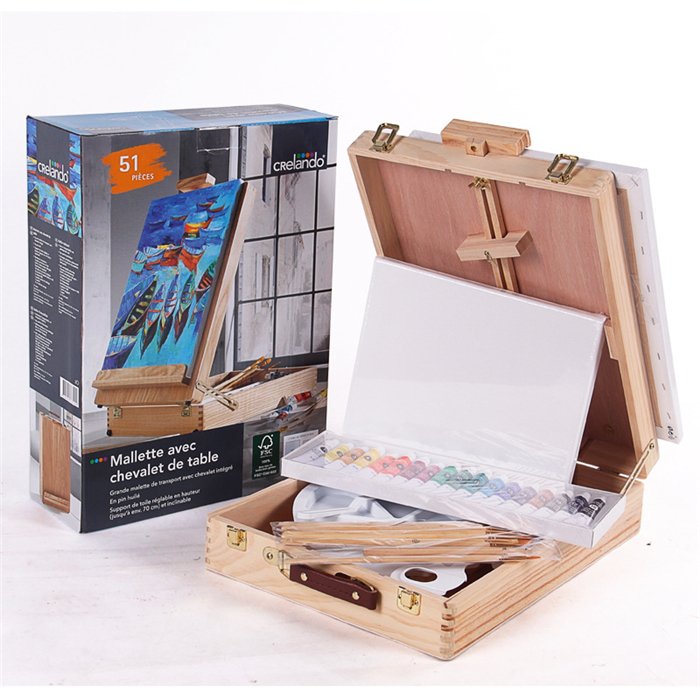 Hardcover Propylene Painting Tools Set  With Pine Oil Painting Box 8 Colors Acrylic Paint  Palette Pencils Paint Brushes Frame<br><br>Aliexpress