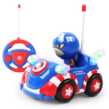 Disney 2017 Hot Sale Cute Cartoon Kids Juguetes American Captain Light Music RC Car Marvel Xmas Toys Gifts for Chidren Boys(China)