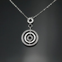 2016 Designed for Women 925 Sterling Silver Rotatable Round Short Necklaces Pendant Jewelry Romantic Elegant Gift