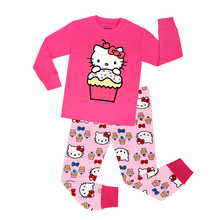 CHUNJIAN beautiful pink hello kitty girls sleepwear kids pajamas boys car design animal pyjamas for 2-7T