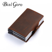 BISI GORO 2018 vintage genuine leather card holder rfid wallet aluminum unisex crazy horse leather 2 metal credit card holder(China)
