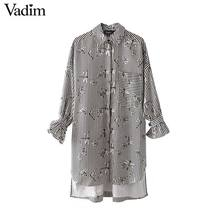 Vadim dragonfly floral striped loose long shirts oversized bow tie long sleeve blouse female casual chic tops blusas LT2433(China)