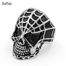 HOTPINKS Gothic Classic Spiderman Skull Ring For Men 316L Stainless Steel Man's Punk Style Jewelry with Pouch(China)