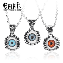 Beier Wholesale Stainless Steel Skull Pendant For Man Biker Punk Heavy Metal Jewelry BP8-059
