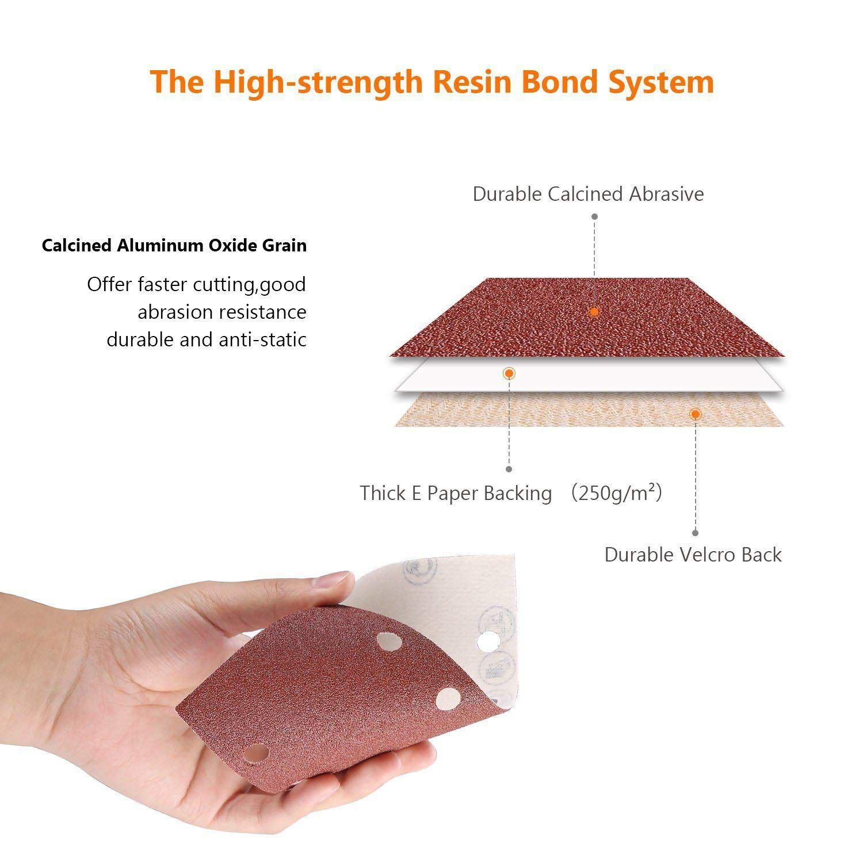 Delta Sandpaper 93 x 93 x 93 mm 6 Holes 240 Grit//Delta Sander//Sanding Triangles 50 Sheets Velcro//Adhesive System
