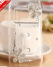 2014 New Beautiful Flower 3D bling diamond Rhinestone case hard cover For Nokia Lumia N8 case mobile Phone cover case