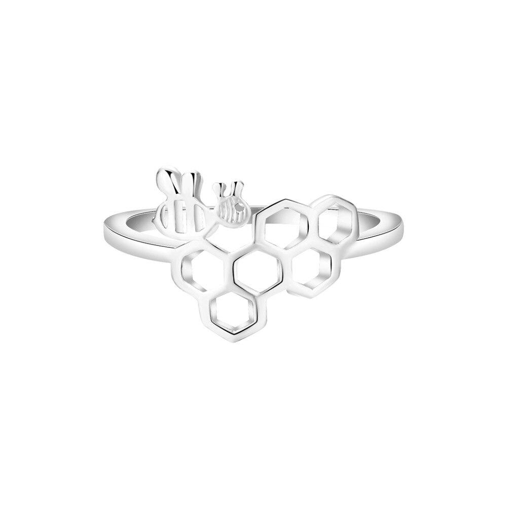 QIAMNI-Trendy-Geometric-Polygon-Molecular-Cute-Honeycomb-Beehive-Hive-Bee-Honeybee-Animal-Finger-Ring-for-Women (1)