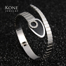 Famous Brand Personalize Cuff Roman Numerals Snake Stainless Steel Bangle For Women Wedding Gift Luxury Jewelry