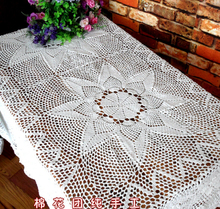 Hand Crochet Flower Tablecloths White 125X175CM Sofa towel Home Cover cloth Rectangular Table cloth Home Textile(China)