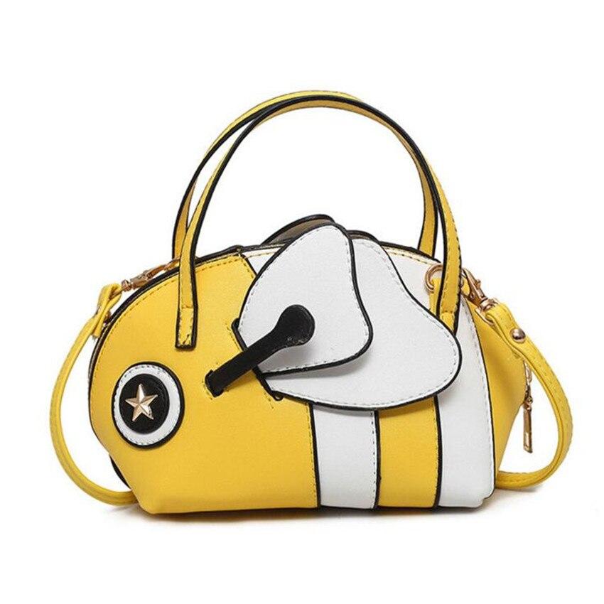 M577 2017 New Women Bag Spring Summer Cartoon Cute Little Bee Ugly Fish Bag Hit Color Bag Women Shoulder Handbags Bag<br>