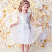 2-7Y Newest Princess BABY Girls Kids Baby Sequins Wedding Tulle Tutu Dress Sundress Toddler Girls Dresses 2017(China)