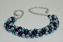 Gray, Purple and Teal Pearl, Bridal Necklace, Wedding Jewelry, Chunky Pearl Purple Bridesmaids Jewelry, Cluster Neckalce MN038