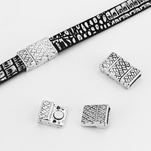 5 Sets Antique Silver 10x2mm Magnetic Clasp For use With 5mm 10mm Flat Leather Cord