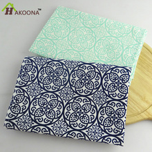 HAKOONA 4 pieces/set Table Napkins  Placemats Pads  Blue Green Cloth Thicken Printed Cotton  Kitchen Towels Tea Towels 45x65cm
