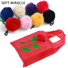 SEPT MIRACLE Rose Flowers Foldable Reusable Shopping Bags  Mini Colorful Tote Storage Handbag Large Grocery Shopping Bags