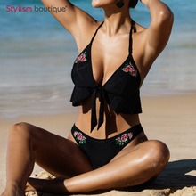 Buy 2018 Women Bandage Bikini Set Halter Swimsuit Low Waist Bikiqis Sexy Beach Bikini Swimming Suits Bathing Suit Vintage Style