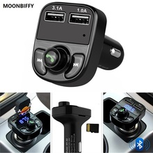 Super Bluetooth Car Kit Handsfree Set FM Transmitter MP3 music Player 5V 4.1A Dual USB Car charger Support Micro SD Card 1G-32G(China)